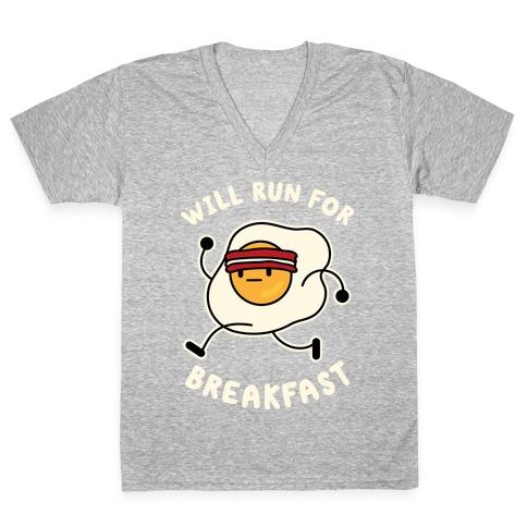 Will Run For Breakfast V-Neck Tee Shirt
