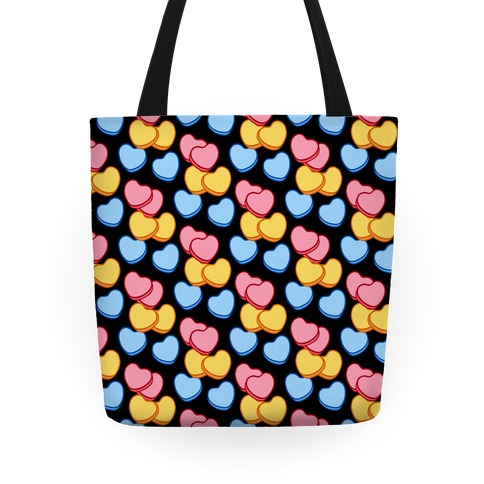 Candy Hearts Pattern Black Tote