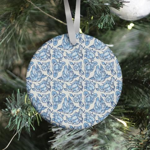Floral Penis Pattern Blue Ornament