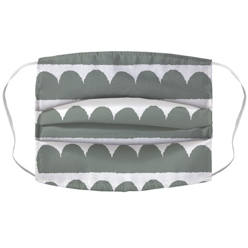 Simple Scalloped Lines Pattern Grey Accordion Face Mask