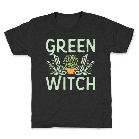 Green Witch White Print Kids T-Shirt