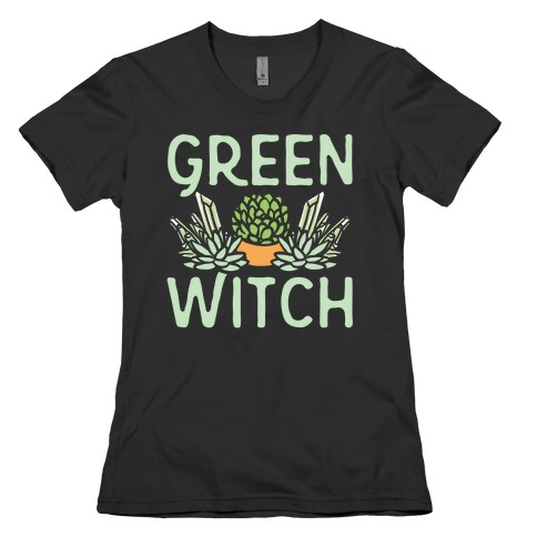 Green Witch White Print Womens T-Shirt