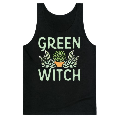 Green Witch White Print Tank Top