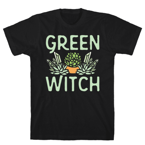 Green Witch White Print Mens T-Shirt