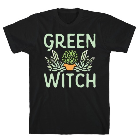 Green Witch White Print T-Shirt