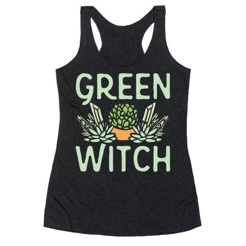 Green Witch White Print Racerback Tank Top