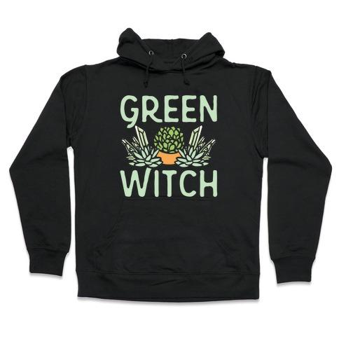 Green Witch White Print Hooded Sweatshirt