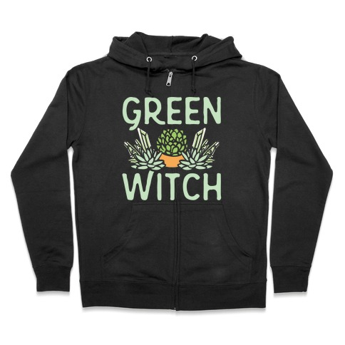Green Witch White Print Zip Hoodie