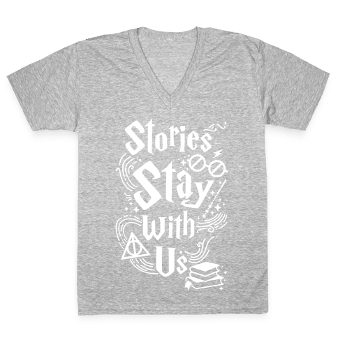 Stories Stay With Us V-Neck Tee Shirt