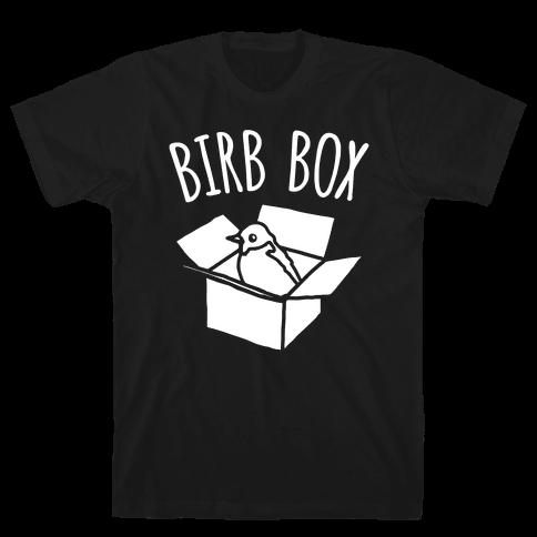 Birb Box Parody White Print Mens T-Shirt