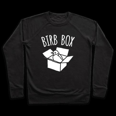 Birb Box Parody White Print Pullover
