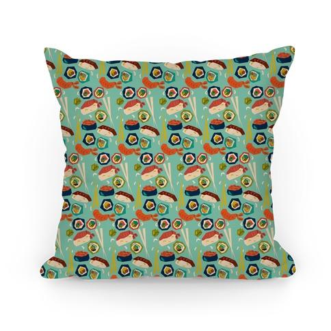 Mid-Century Modern Sushi Pattern Pillow