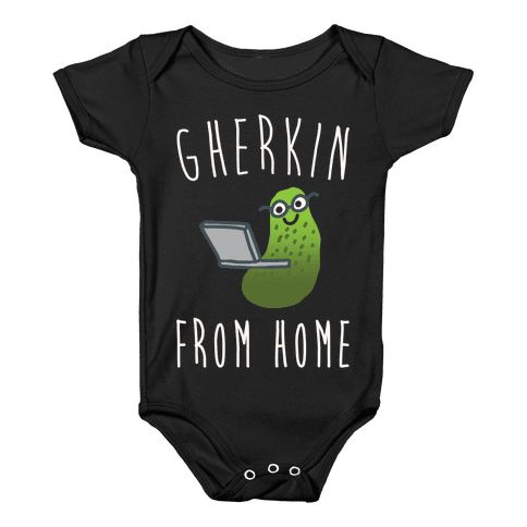 Gherkin From Pickle Parody Home White Print Baby Onesy