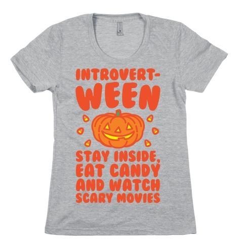 Introvert-ween Introverted Halloween Mashup Parody Womens T-Shirt