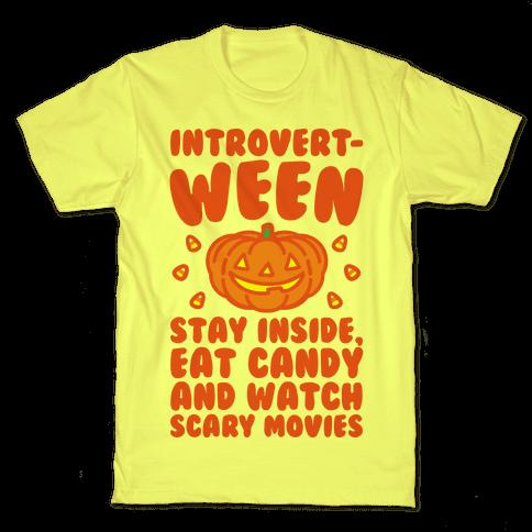 Introvert-ween Introverted Halloween Mashup Parody Mens/Unisex T-Shirt