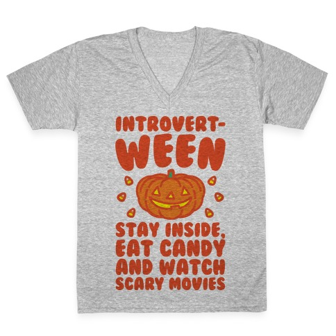 Introvert-ween Introverted Halloween Mashup Parody V-Neck Tee Shirt
