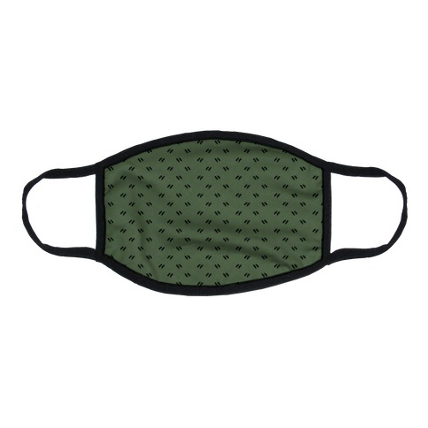 Dainty Dashes Chive Green Flat Face Mask