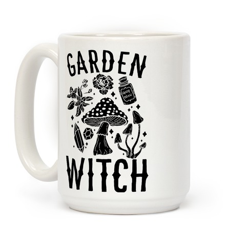 Garden Witch BLACK AND WHITE Coffee Mug