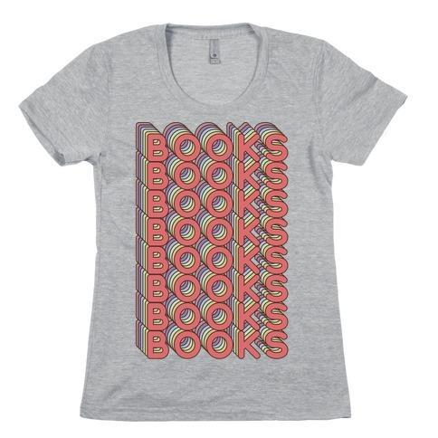 Books Retro Rainbow Womens T-Shirt