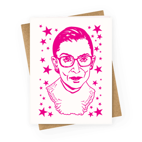 Hot Pink Ruth Bader Ginsburg Greeting Card