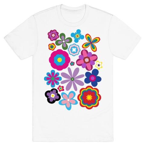 Hippie Pride Flower Pattern T-Shirt