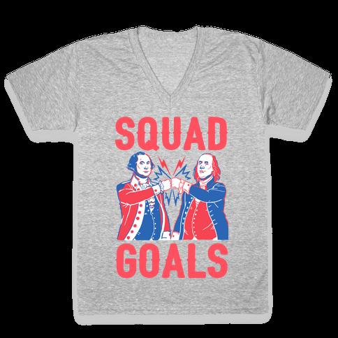 Squad Goals George Washington & Benjamin Franklin V-Neck Tee Shirt