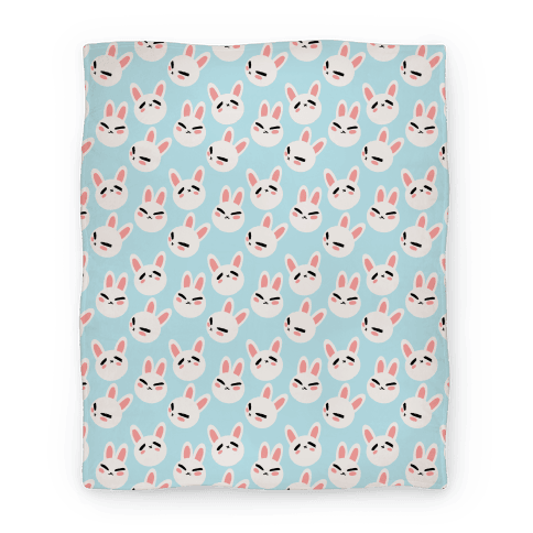 BunBun Pattern Blue Blanket