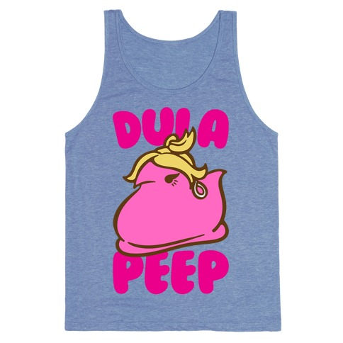 Dula Peep Parody White Print Tank Top