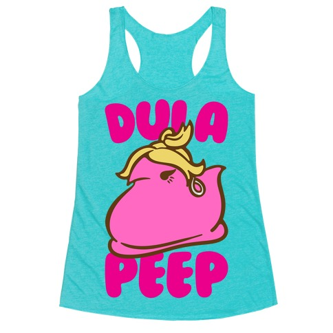 Dula Peep Parody White Print Racerback Tank Top