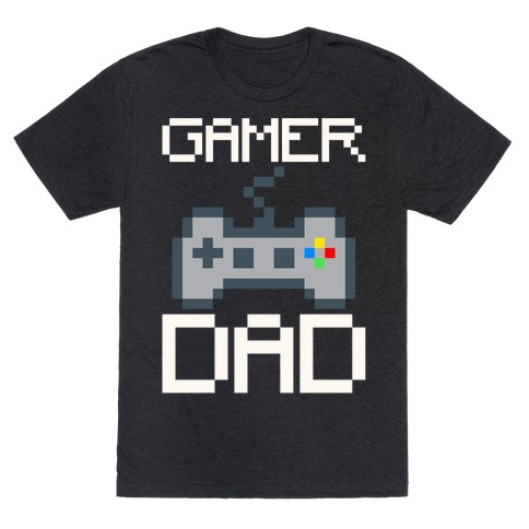 Gamer Dad White Print T-Shirt