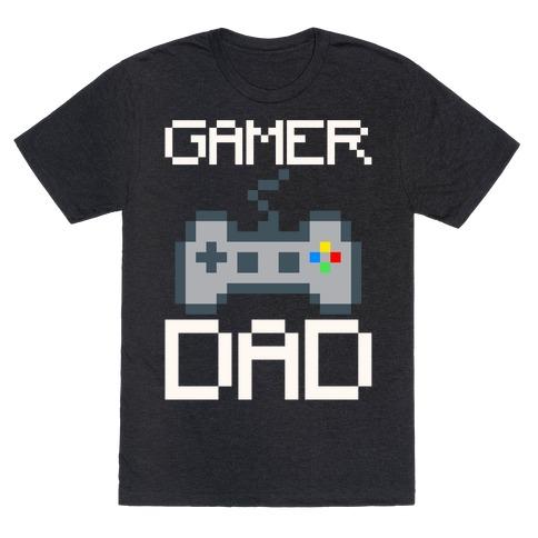 Gamer Dad White Print T-Shirt