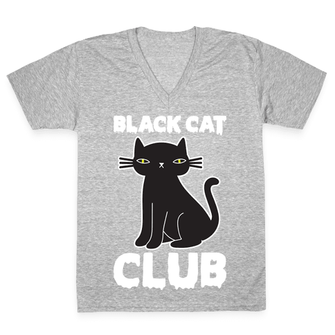 Black Cat Club V-Neck Tee Shirt