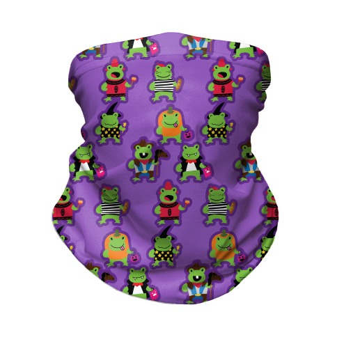 Hoppy Halloween Frogs Pattern Neck Gaiter