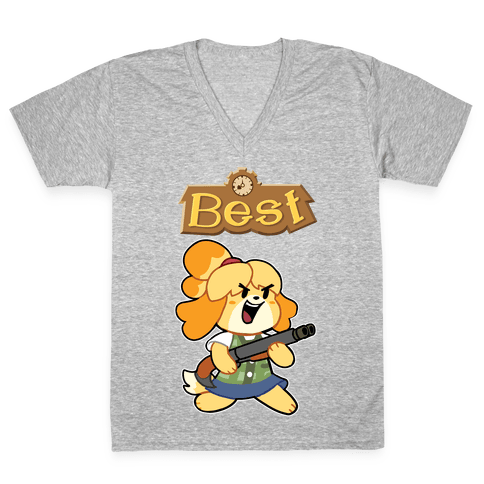 Best Friends Doomguy and Isabelle V-Neck Tee Shirt