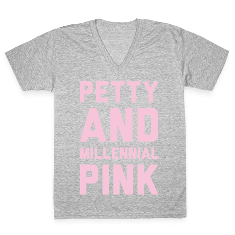 Petty And Millennial Pink White Print V-Neck Tee Shirt