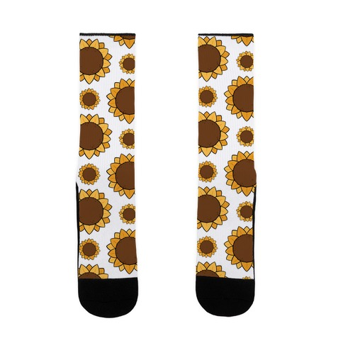 Sunflower Pattern White Sock