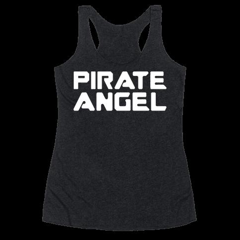 Pirate Angel Parody White Print Racerback Tank Top