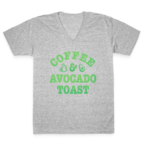 Coffee & Avocado Toast V-Neck Tee Shirt