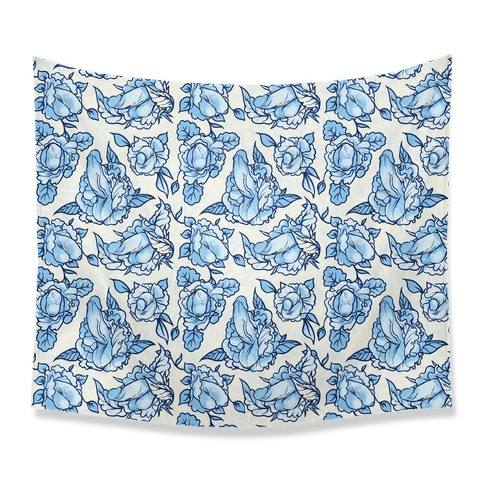 Floral Penis Pattern Blue Tapestry
