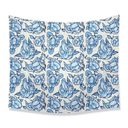 Floral Penis Pattern Blue Tapestry