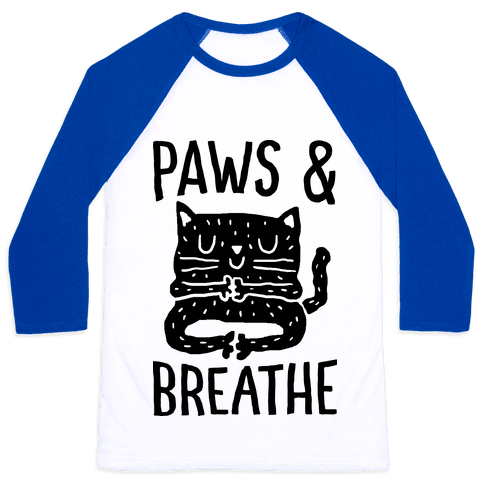 Paws And Breathe Yoga Cat Baseball Tee