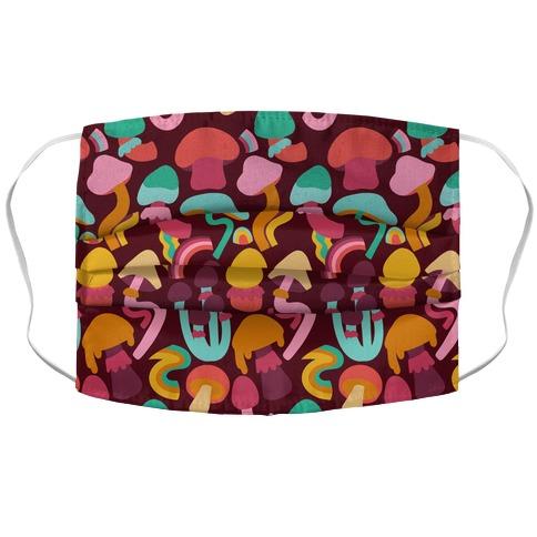 Retro Groovy Mushroom Pattern Accordion Face Mask