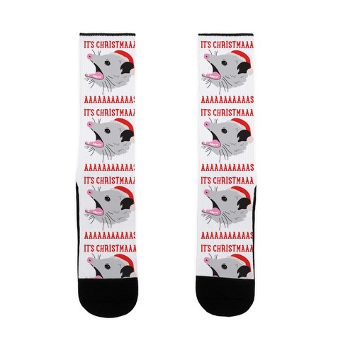 It's Christmas Screaming Opossum Sock