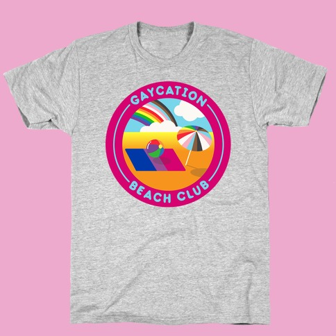 Gaycation Beach Club Patch White Print T-Shirt