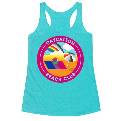 Gaycation Beach Club Patch White Print Racerback Tank Top