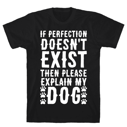 If Perfection Doesn't Exist Then Please Explain My Dog Mens T-Shirt