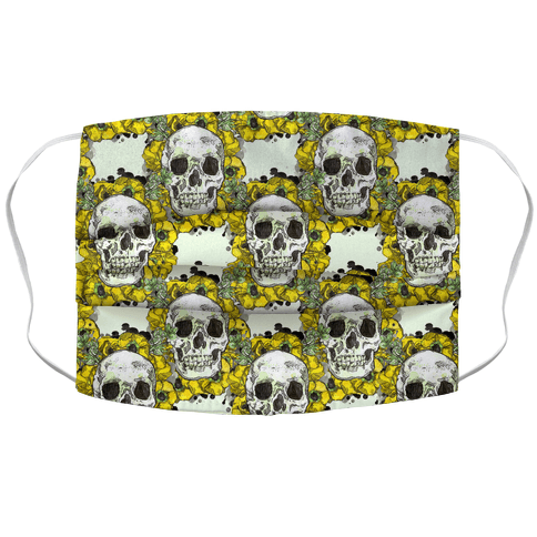 Skull on a Bed of Poppies Pattern Yellow Face Mask Cover