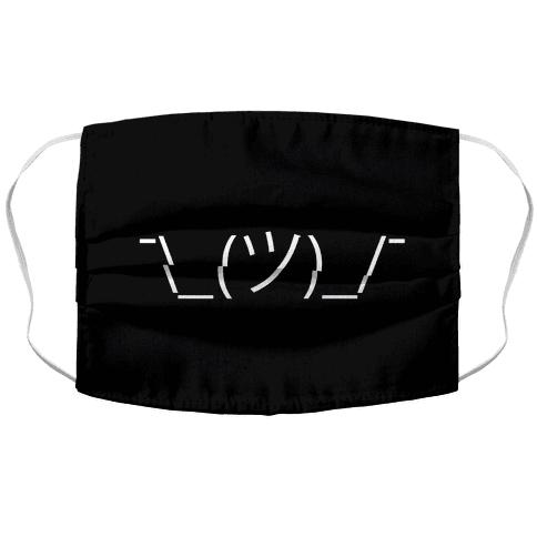 Shrug Emoji Black Face Mask