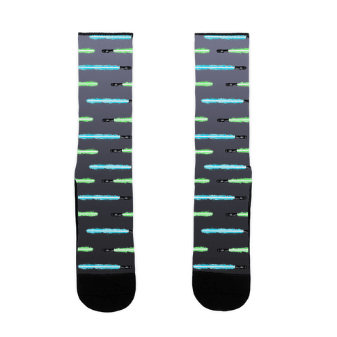 Blue and Green Lightsaber Pattern Sock