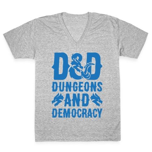 Dungeons and Democracy Parody White Print V-Neck Tee Shirt
